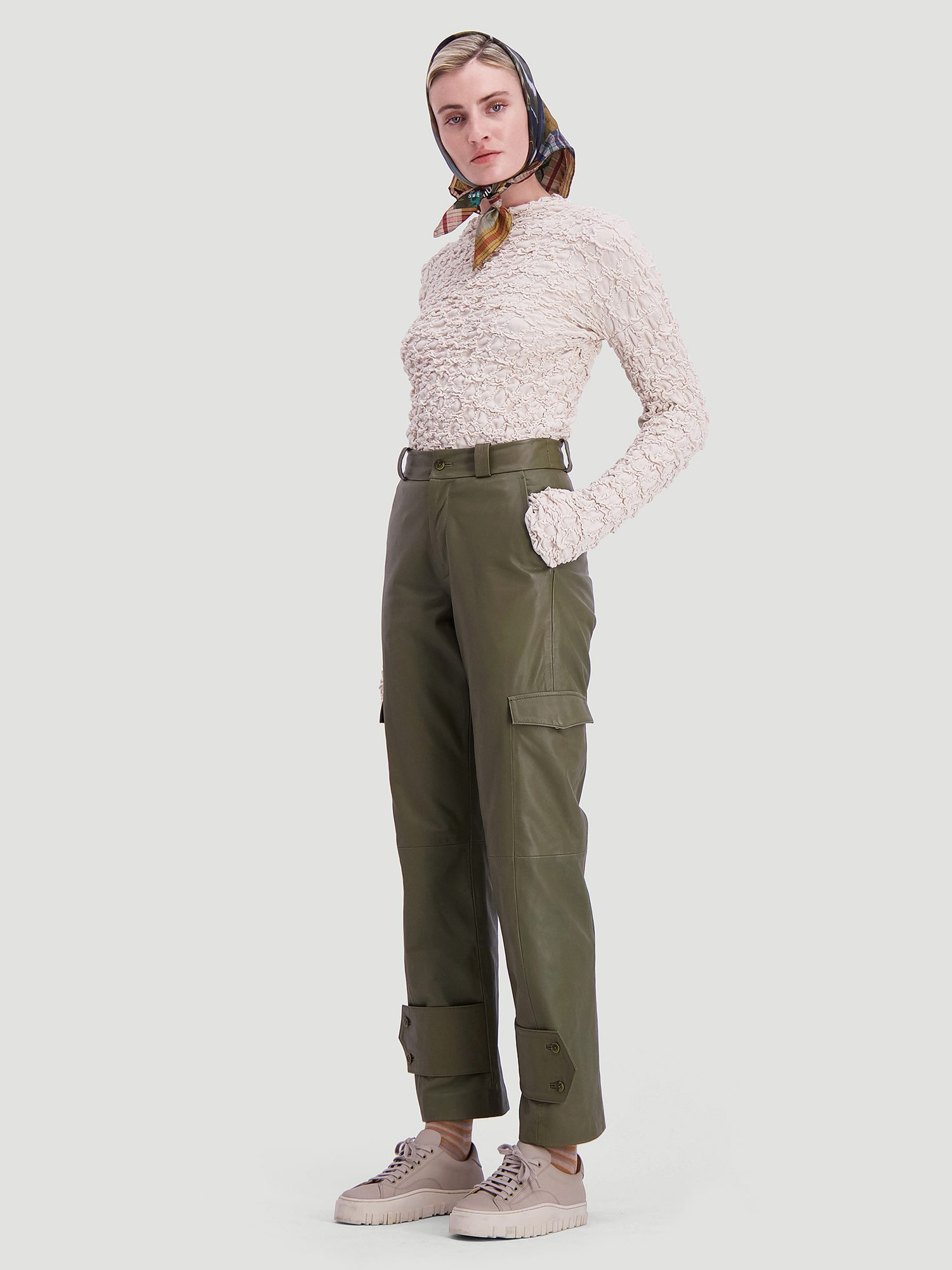 Dunder leather trouser army